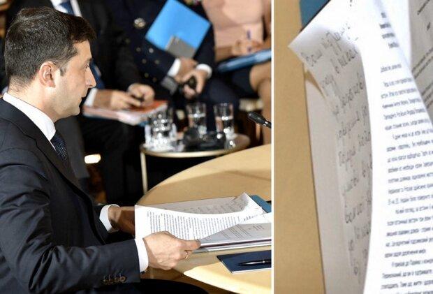 Зеленський під час прес-конференції в Парижі користувався шпаргалкою. ФОТО
