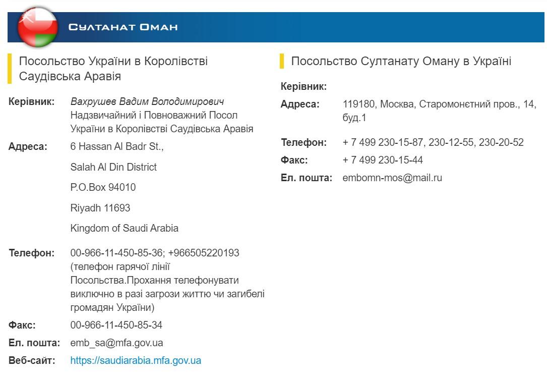 Журналісти з'ясували, що роль посольства Оману в Україні виконує диппредставництво в Москві