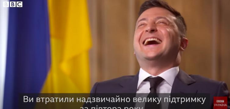 Зеленський висміяв питання журналіста BBC про падіння його президентського рейтингу