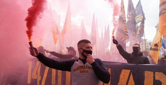 Як відбувався марш націоналістів у центрі Києва